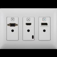Aurora - DXW-3-W - 3 input HDBaseT™ transmitter wall plate