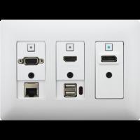 Aurora - DXW-3EU-W - 3 input HDBaseT™ transmitter wall plate