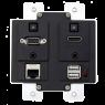Aurora - DXW-2EU-B - 2 input HDBaseT™ transmitter wall plate